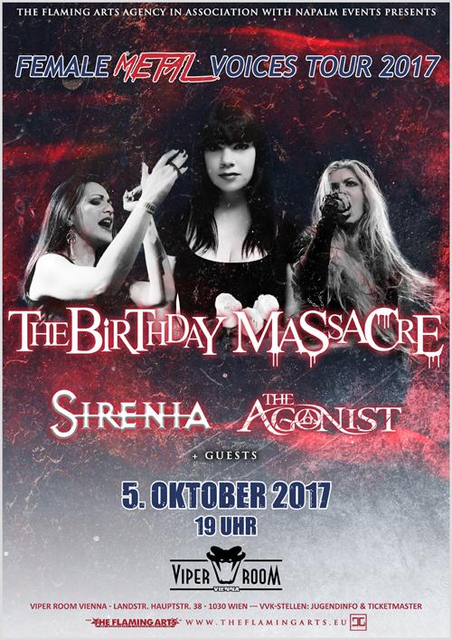 Live: THE BIRTHDAY MASSACRE, SIRENIA, THE AGONIST, XEROSUN, ANTALGIA