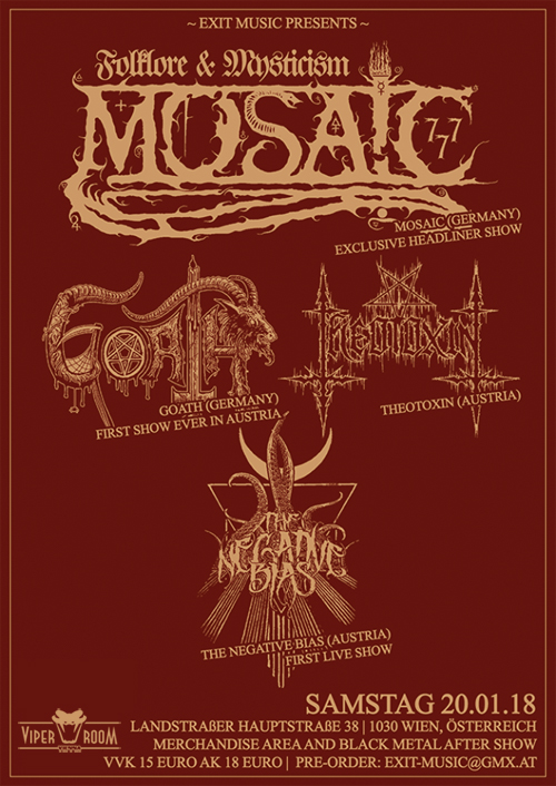Live: MOSAIC, GOATH, THEOTOXIN, THE NEGATIVE BIAS