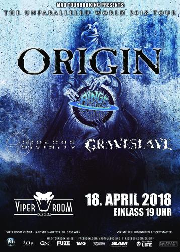 Live: ORIGIN, RINGS OF SATURN, HIDEOUS DIVINITY, GRAVESLAVE