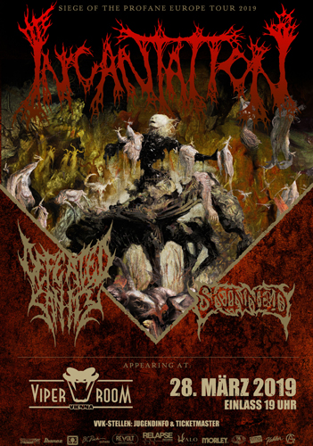 Live: INCANTATION, DEFEATED SANITY, SKINNED